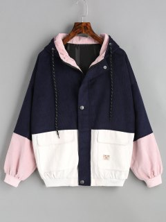 Hooded Color Block Corduroy Jacket - Purplish Blue M