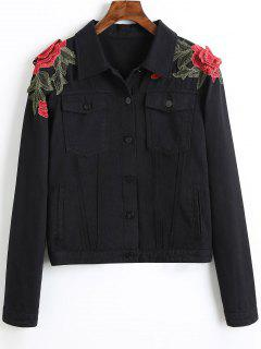 Denim Floral Embroidered Patches Jacket - Black L
