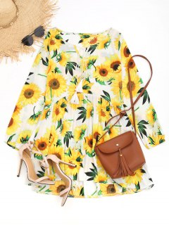 Mini Vestido De Girasol Bajo Alto Tassels - Amarillo Xl