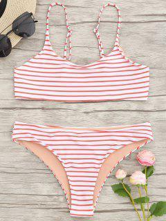 Cami Gestreiftes Bralette Bikini Set - Rot S