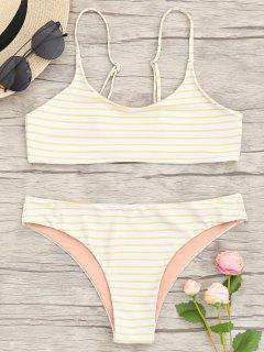 Conjunto De Bikini Bralette De Rayas De Cami - Amarillo S