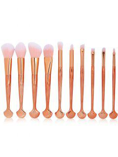 Professional 10Pcs Shell Shape Fiber Hair Makeup Brush Set - Rose Gold