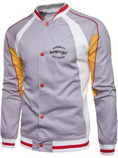 Embroidered Graphic Baseball Jacket - Gray Xl