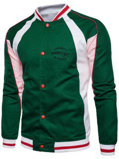 Embroidered Graphic Baseball Jacket - Green 3xl
