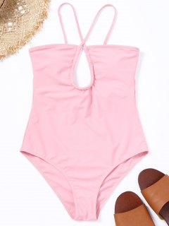 Crisscross Cutout One Piece Swimsuit - Pink S