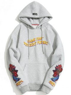Kangaroo Pocket Embroidered Oversized Hoodie - Gray M