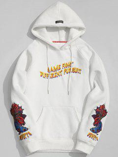 Kangaroo Pocket Embroidered Oversized Hoodie Men Clothes - White L