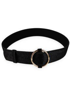 Metal Round Buckle Embellished Ladies Waist Belt - Black