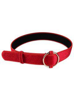 Hebilla Redonda De Metal Embellecido Cinturón De Cintura De Las Señoras - Rojo