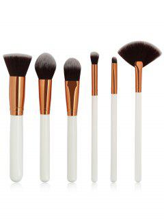 6 Pcs Professional Makeup Brushes Collection - White