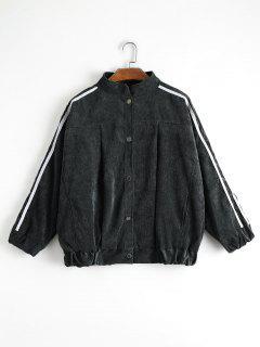 Contrast Stripe Corduroy Jacket - Black L
