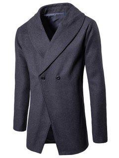 Manteau à Col Châle En Laine Et Convertible à Bouton  - Gris Foncé L