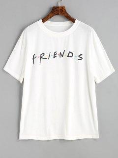 Lettre T-shirt Contraste De Points - Blanc Xl