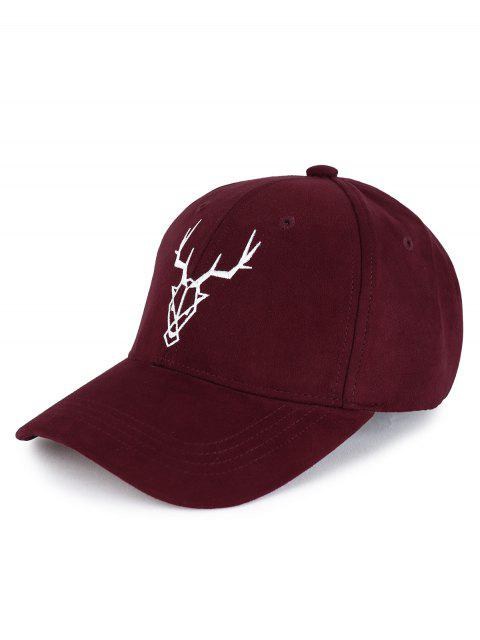 outfit Elk Head Embellished Faux Suede Baseball Hat - WINE RED  Mobile