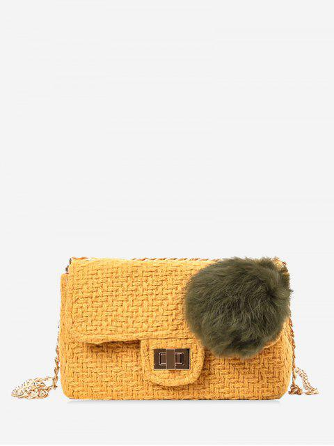 ladies Chain Crossbody Bag With Pompom - YELLOW  Mobile