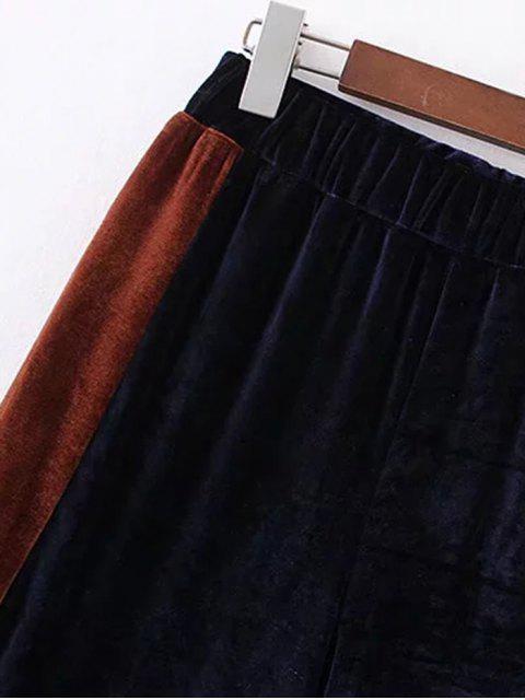 Pantalones de pierna ancha de dos tonos de terciopelo - Verde negruzco S Mobile