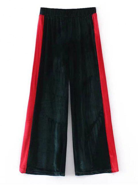 fashion Two Tone Velvet Wide Leg Pants - BLACKISH GREEN S Mobile