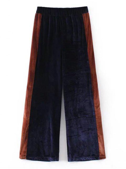 sale Two Tone Velvet Wide Leg Pants - PURPLISH BLUE M Mobile