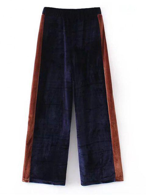 ツートーンベルベットワイドレッグパンツ - 紺色 S Mobile