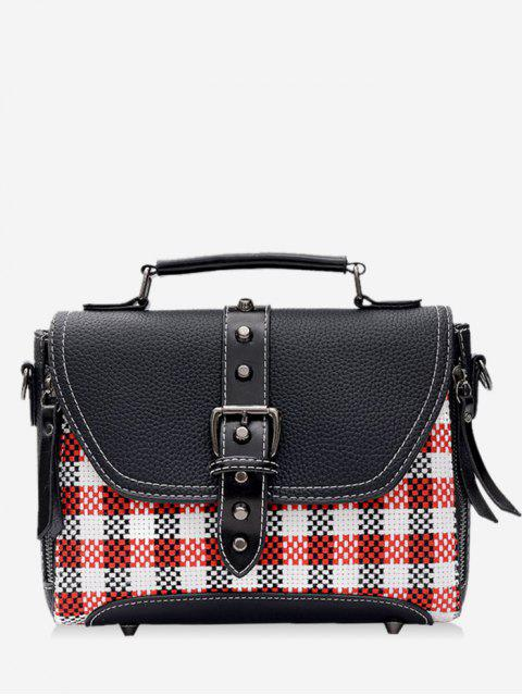 Studs Buckle Strap Plaid Sac à main - Noir  Mobile