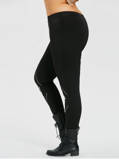 hot Plus Size Wear Glasses Christmas Cat Print Leggings - BLACK 2XL Mobile