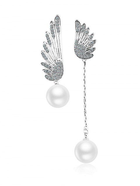 women Wings Irregular Stud Drop Earrings - SILVER  Mobile