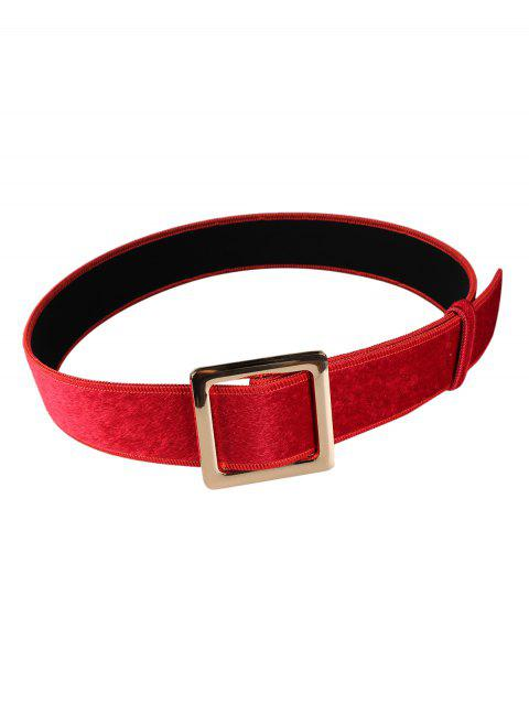 women's Metal Square Buckle Embellished Faux Suede Waist Belt - RED  Mobile