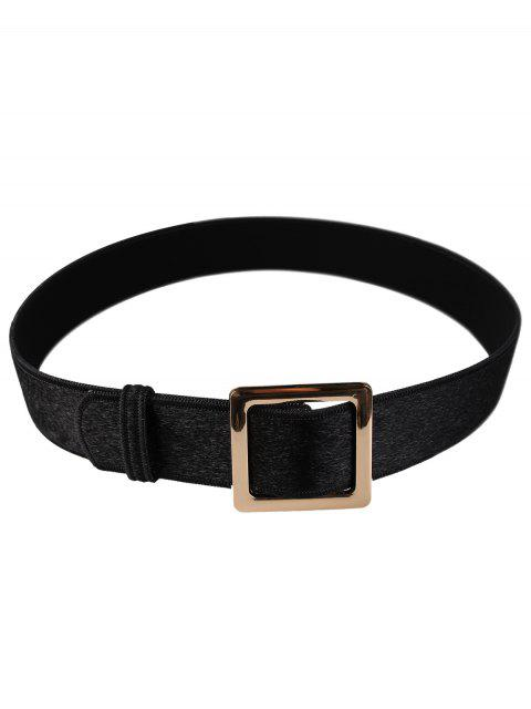 Cinturón de cinturón de imitación de gamuza adornado con hebilla cuadrada de metal - Negro  Mobile