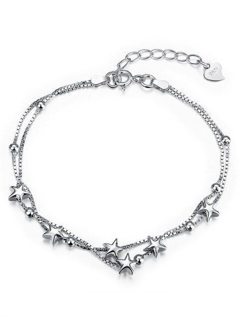 Doppelschicht Stern Kette Armband - Weiß + Gold  Mobile