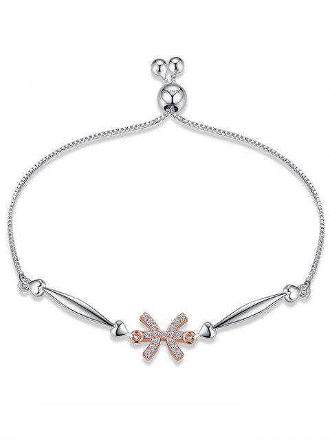Bracelet en Chaîne Motif Signe du Zodiaque en Argent - Poissons  Mobile
