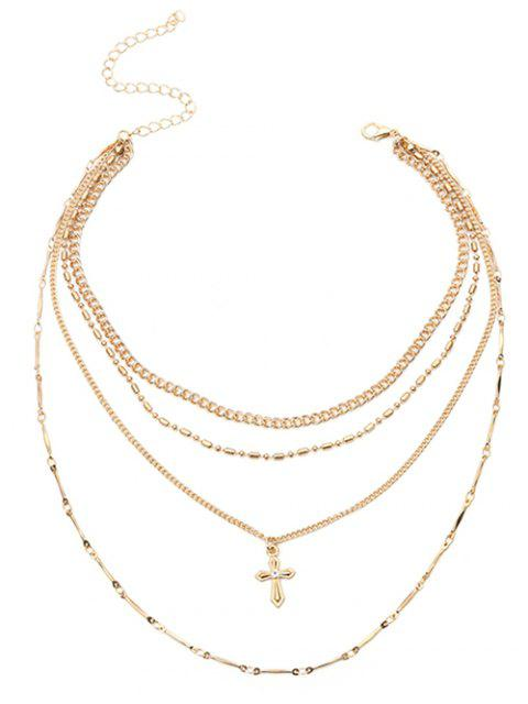 Crucifix Chaîne Pendentif Layered Collier - Or  Mobile