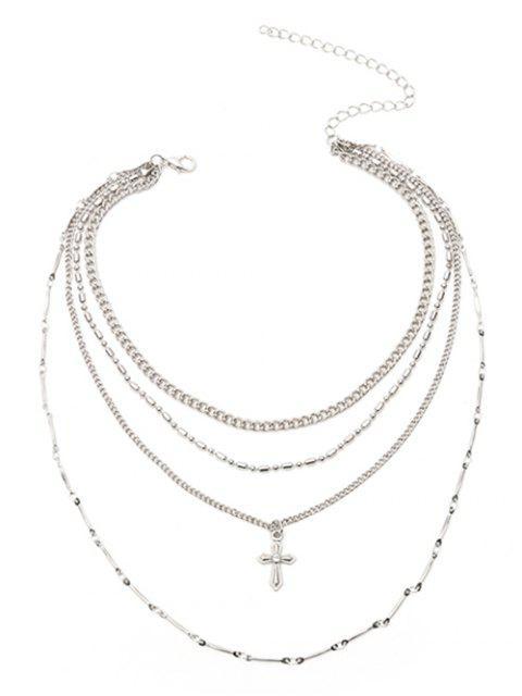 Crucifix Chaîne Pendentif Layered Collier - Argent  Mobile