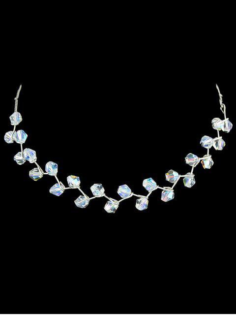 Collier Clavicule en Forme de Branche et Perles de Cristal Fantaisie - Blanc  Mobile