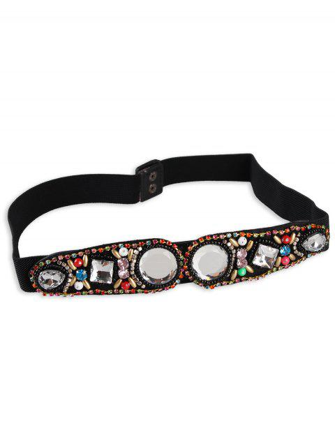 trendy Rhinestone Inlay Faux Crystal Elastic Waist Belt - WHITE  Mobile