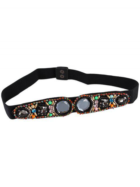 buy Rhinestone Inlay Faux Crystal Elastic Waist Belt -   Mobile