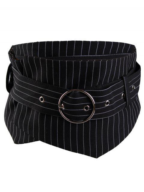 Metall-Runde Schnalle dekoriert Damen breiten Taillengürtel - Streifen   Mobile