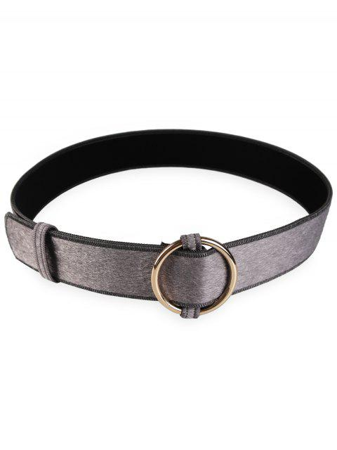 womens Metal Round Buckle Embellished Ladies Waist Belt - GRAY  Mobile