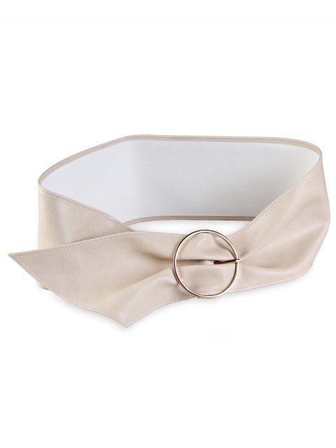 Cinturón de cintura alta de imitación de cuero con hebilla redonda de metal - Camello  Mobile