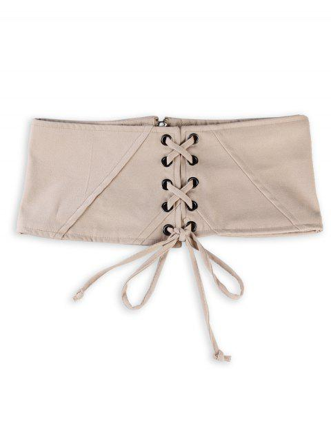 unique Vintage Lace Up Corset Bandage High Waist Belt - APRICOT  Mobile