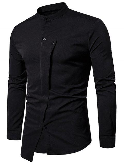 Camisa Asimétrica Irregular con Cuello de Mandarín - Negro L Mobile