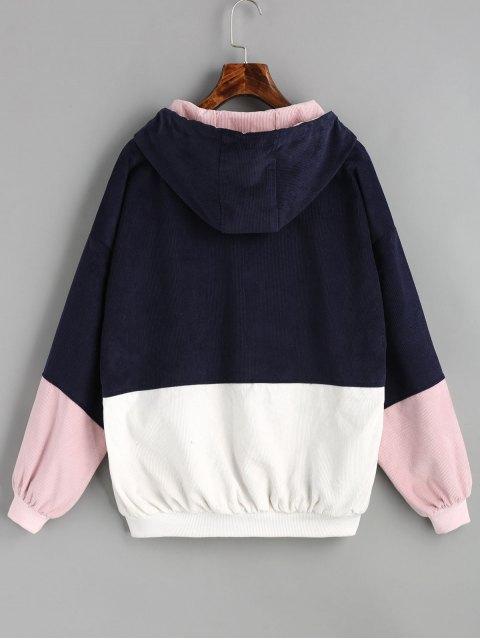 Chaqueta de pana color block con capucha - Azul Purpúreo XL Mobile