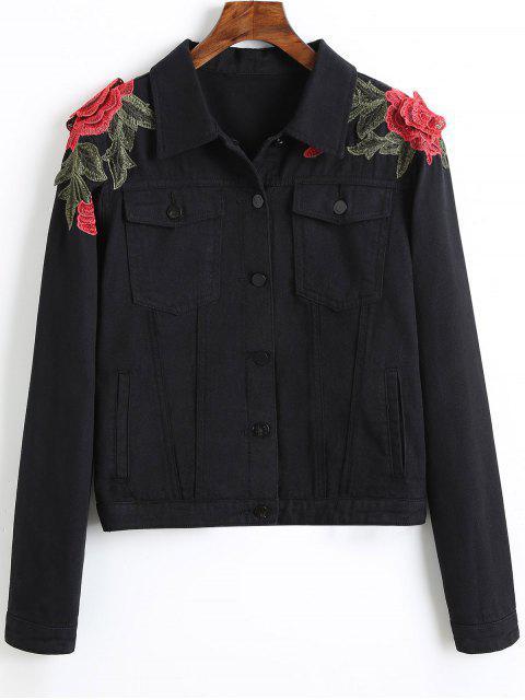 Veste Denim à Patch Brodé Floral - Noir S Mobile