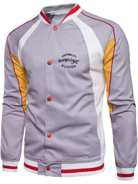 fashion Embroidered Graphic Baseball Jacket - GRAY 3XL Mobile