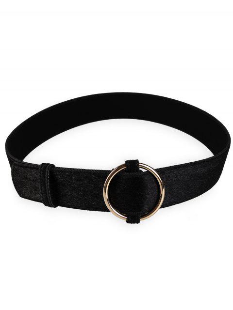 fashion Metal Round Buckle Embellished Ladies Waist Belt - BLACK  Mobile