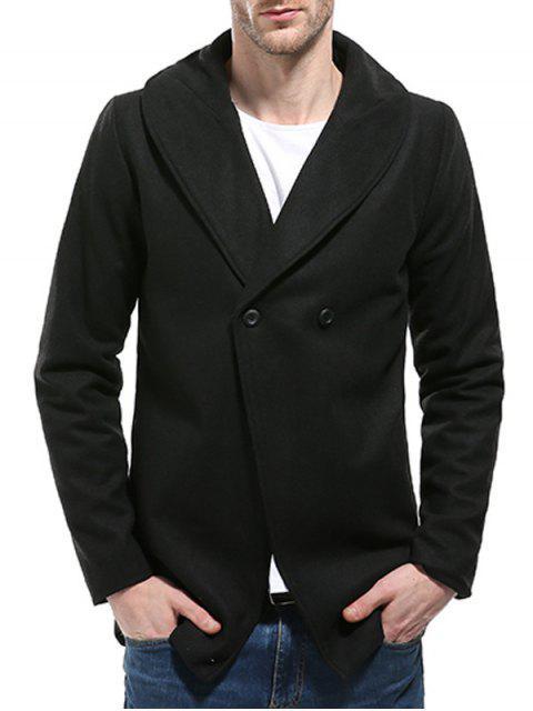 shop Convertible Butoon Shawl Collar Wool Blend Coat - BLACK 2XL Mobile