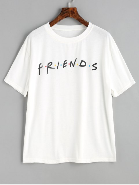 latest Contrasting Dots Letter T Shirt - WHITE M Mobile