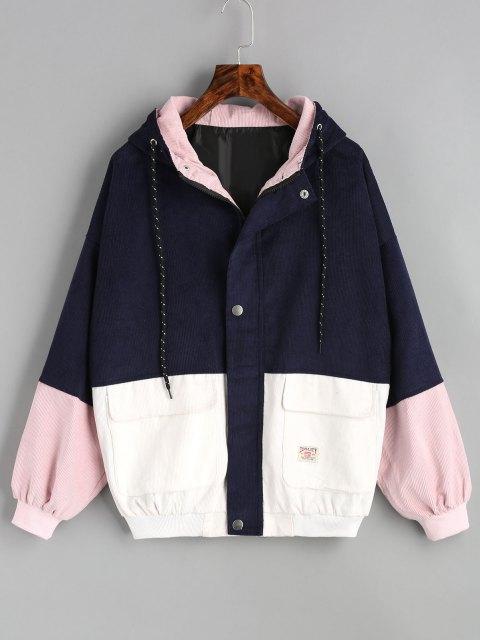 fashion Hooded Color Block Corduroy Jacket - PURPLISH BLUE XL Mobile