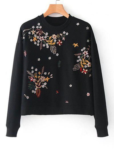 Zaful Drop Shoulder Floral Embroidere Sweatshirt