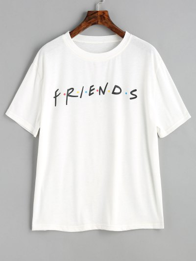 Contrasting Dots Letter Graphic T Shirt - White M