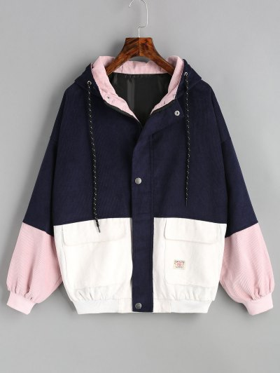 Hooded Color Block Corduroy Jacket - Purplish Blue L